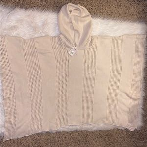 Ivory hooded, soft knitted poncho